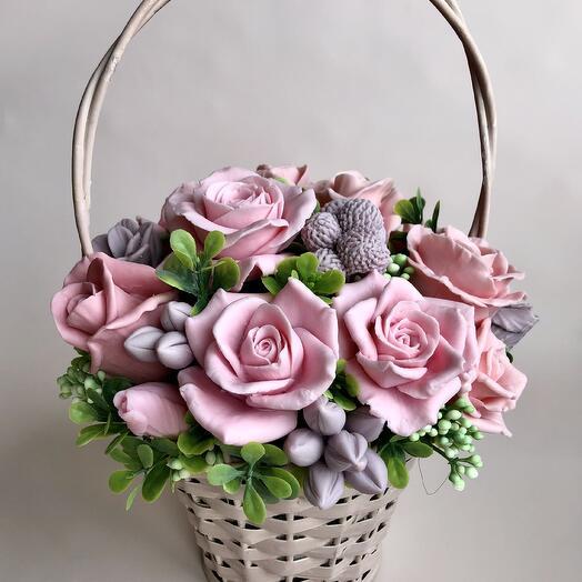 Мыло ручной работы букет роз в корзинке