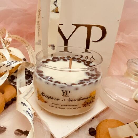 Массажная ароматическая свеча Капучино с бисквитом
