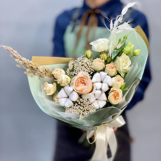 🆕Очаровательный букет с пионовидной розой и нежным хлопком