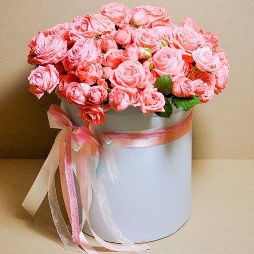 БЦ 157010 Розовые розы в шляпной коробке