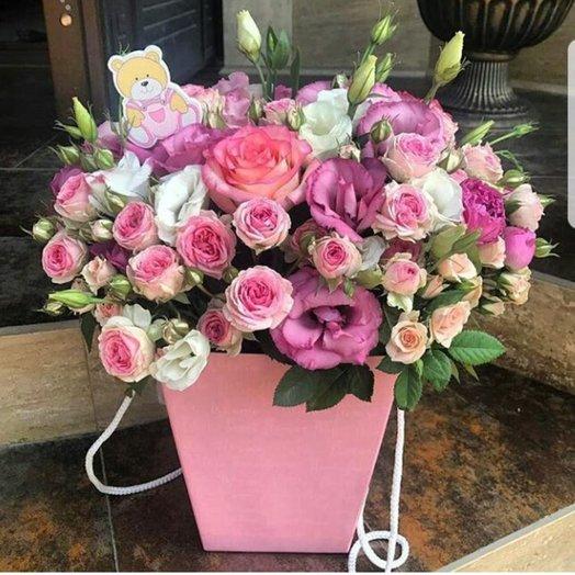 Цветочная композиция с милой открыткой: букеты цветов на заказ Flowwow