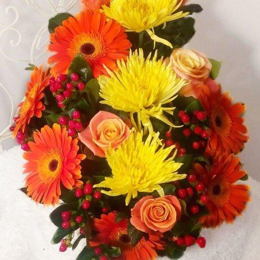 Вертикальный букет Жар-птица: букеты цветов на заказ Flowwow
