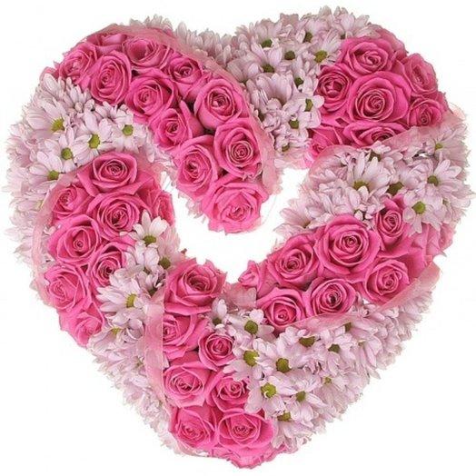 Розовое сердце.: букеты цветов на заказ Flowwow