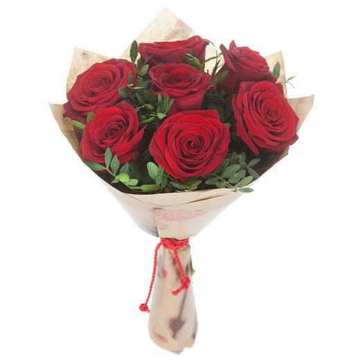 7 красных роз  40см
