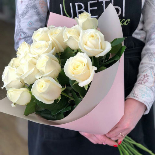 Bouquet of 15 white roses with registration: flowers to order Flowwow