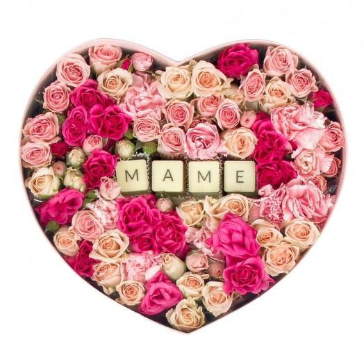 "Коробка с цветами ""Маме"": букеты цветов на заказ Flowwow"
