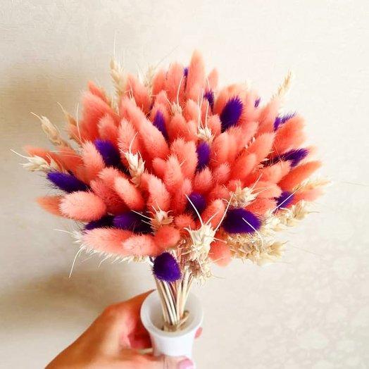 Букет из персикового и чернильного лагуруса: букеты цветов на заказ Flowwow