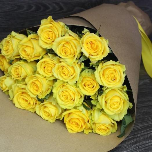 19 Желтых роз: букеты цветов на заказ Flowwow