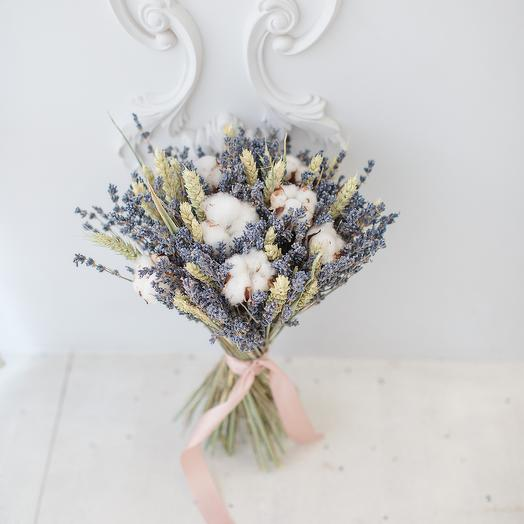 Букет из лаванды и хлопка: букеты цветов на заказ Flowwow