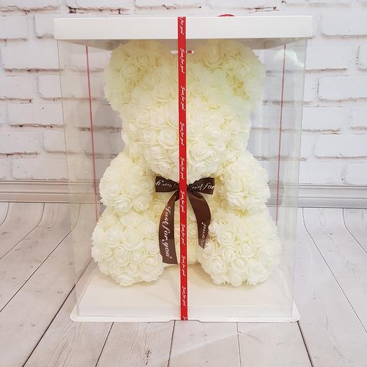 Белый мишка из фоамирановых роз: букеты цветов на заказ Flowwow