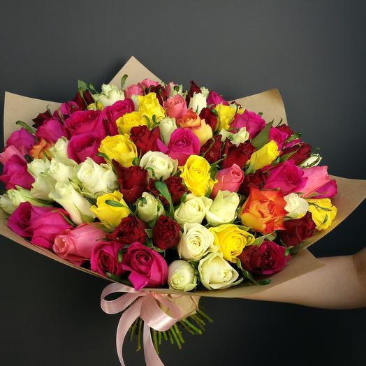75 кенийских роз: букеты цветов на заказ Flowwow