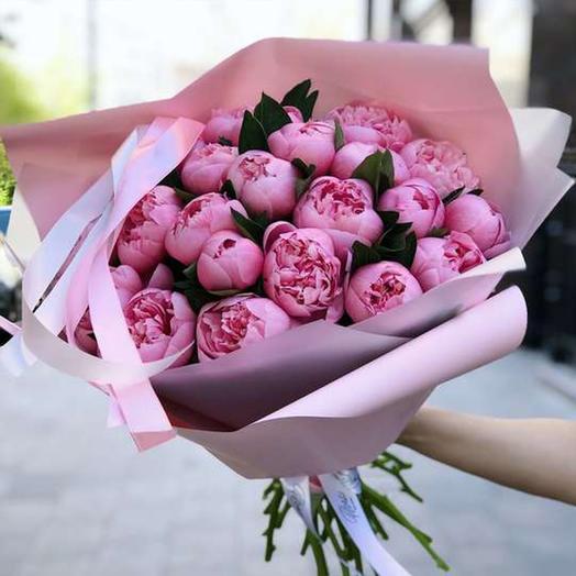 """Букет из 25 пионов """"Salmon"""": букеты цветов на заказ Flowwow"""