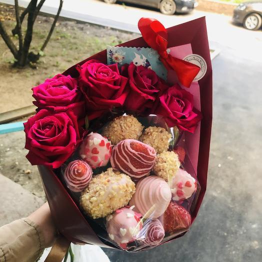 Клубничный букетик: букеты цветов на заказ Flowwow