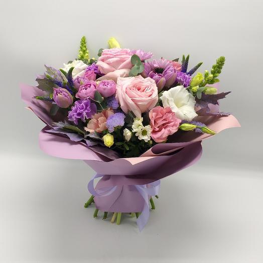 Ароматный букет с пионовидными розами: букеты цветов на заказ Flowwow