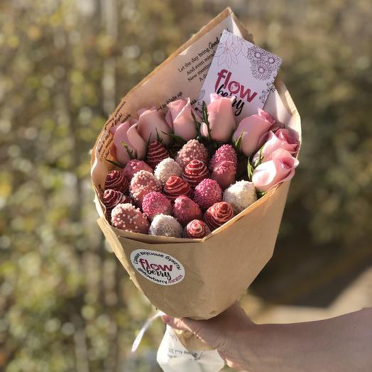 Букет из клубники в шоколаде + Розы