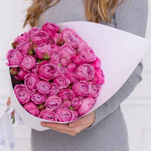 Конвертик с кустовой пионовидной розой