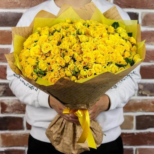 Букет из 101 жёлтой кустовой розы. N915