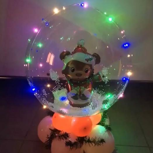 Имитация стеклянный шар с мишкой