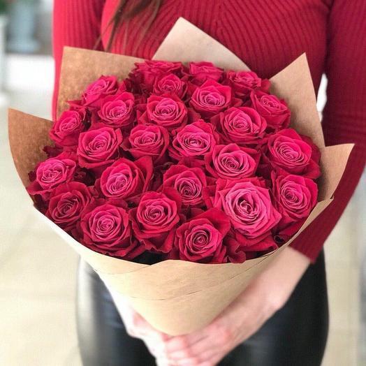 Монобукет из 25 малиновых роз