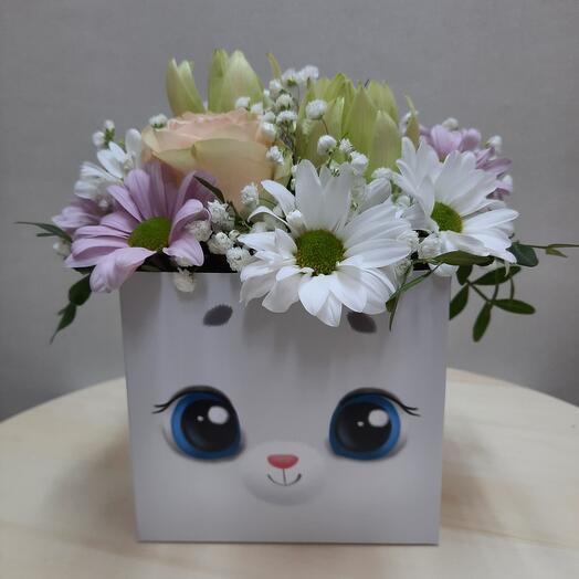 """Цветы в коробке """"Зайка моя!"""""""