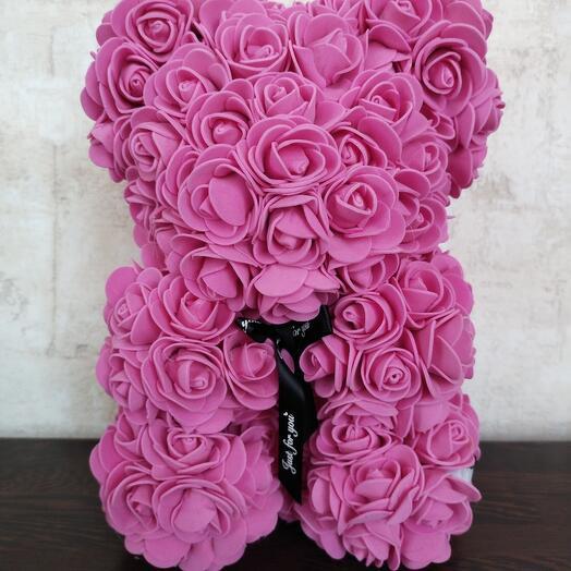 Мишка из роз светящийся ярко розовый