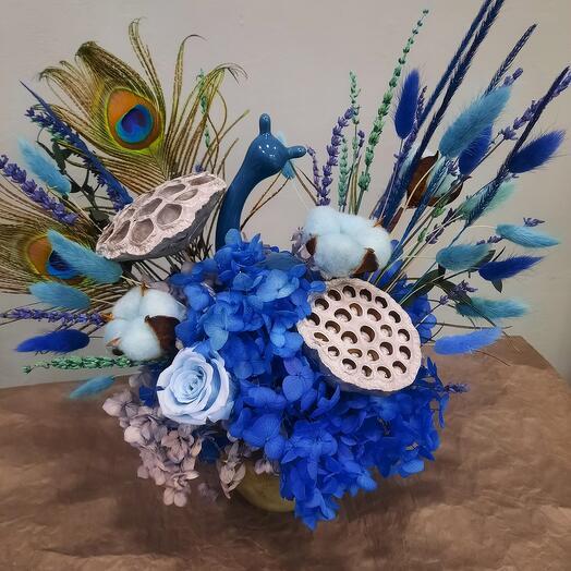 Синяя композиция с керамической улиткой