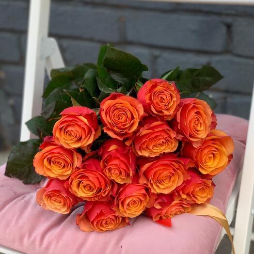 Монобукет 15 Оранжевых роз 60см