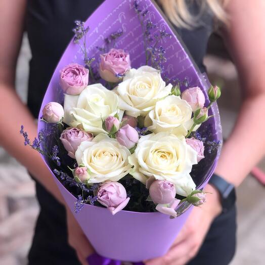 Букет с пионовидной розой Сиреневые дали