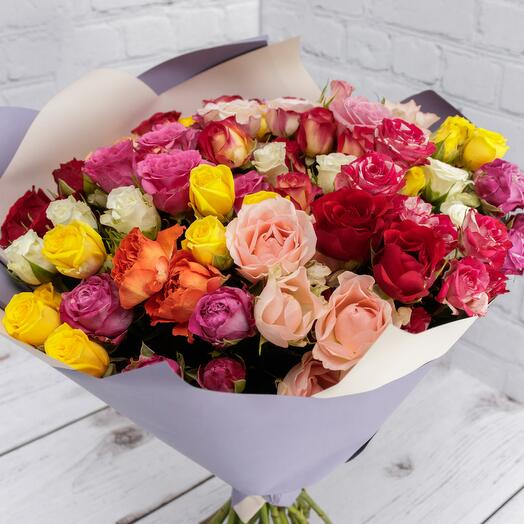 Роза кустовая микс 40 см 25 шт