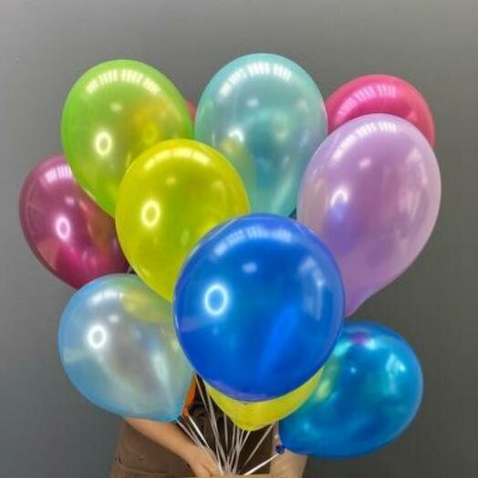 9 разноцветных гелиевых шаров