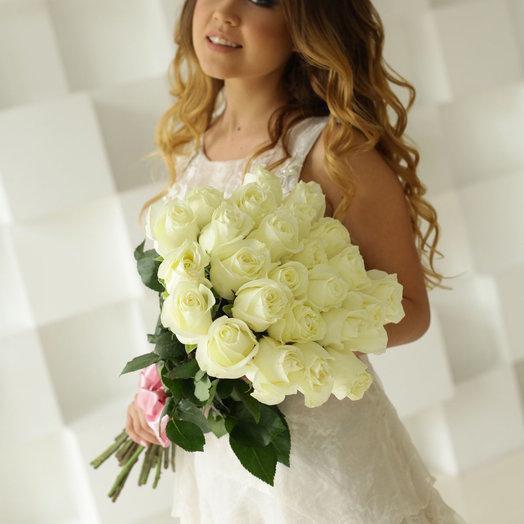 25 белых роз 50 см: букеты цветов на заказ Flowwow