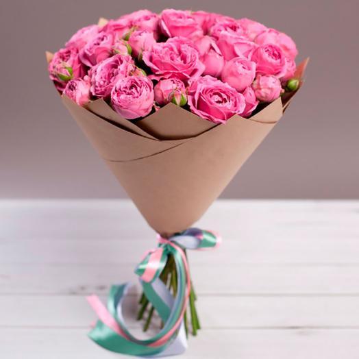 Пионовидные розы баблс в крафте
