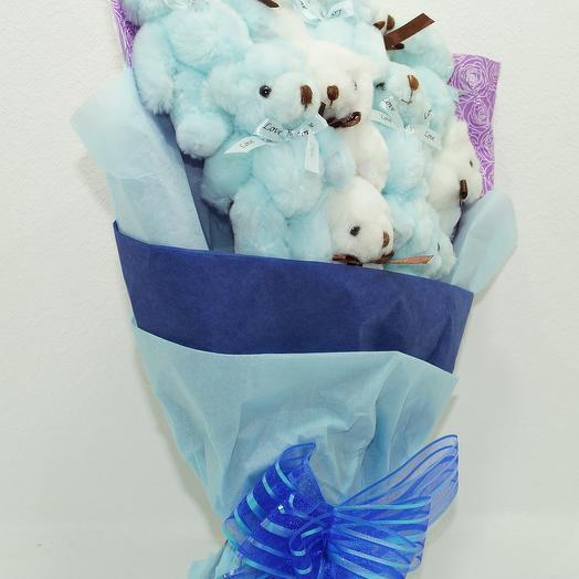 Букет из мишек синий