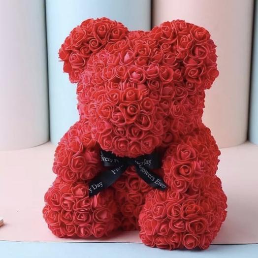 Премиум мишка из 3D роз ( красный ): букеты цветов на заказ Flowwow