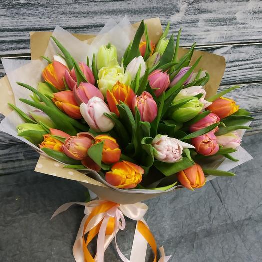 33 пионовидного тюльпана: букеты цветов на заказ Flowwow