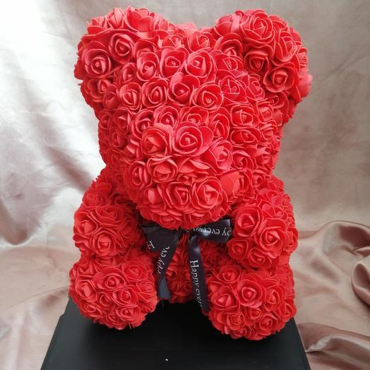 Мишка из роз с бантом: букеты цветов на заказ Flowwow