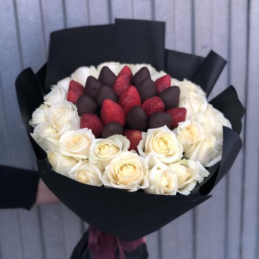 Букет из клубники в глазури и Белых роз