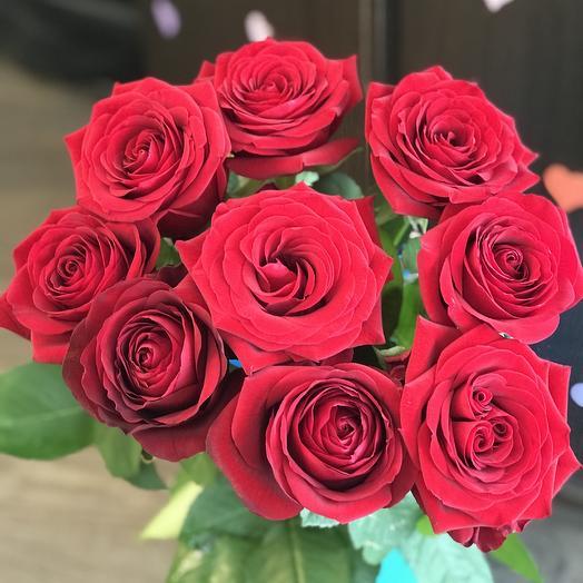 Букет из 9 красных роз 70 см: букеты цветов на заказ Flowwow