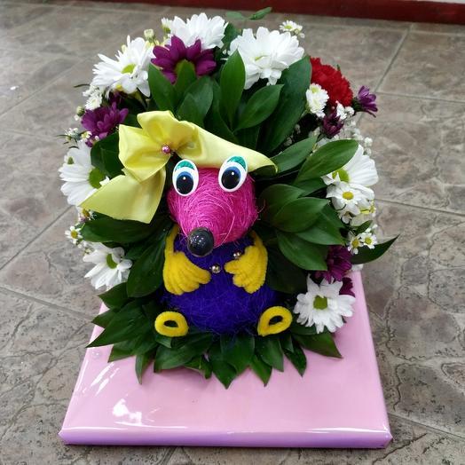 Милый ёжик 🦔 из живых цветов: букеты цветов на заказ Flowwow