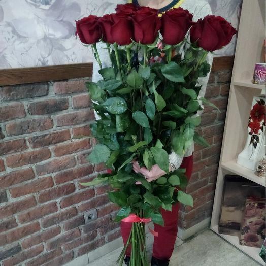 Роза красная 100см: букеты цветов на заказ Flowwow