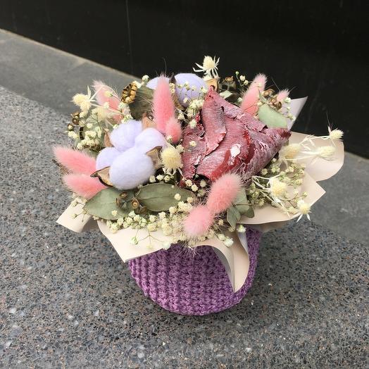 Вязаное кашпо с сухоцветами 4: букеты цветов на заказ Flowwow