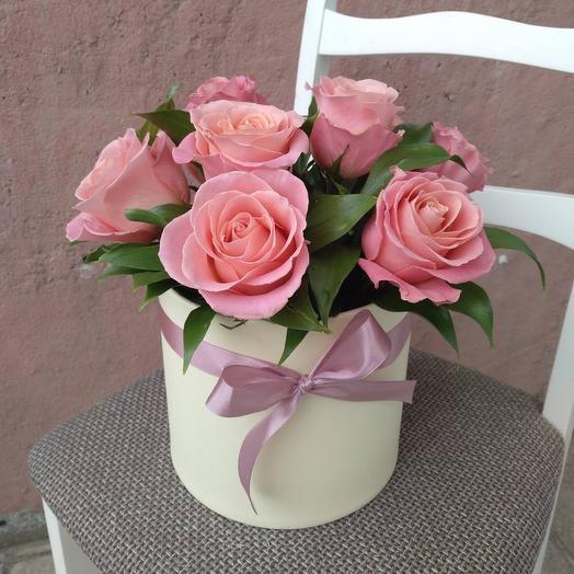 Композиция «Белла» розовые розы