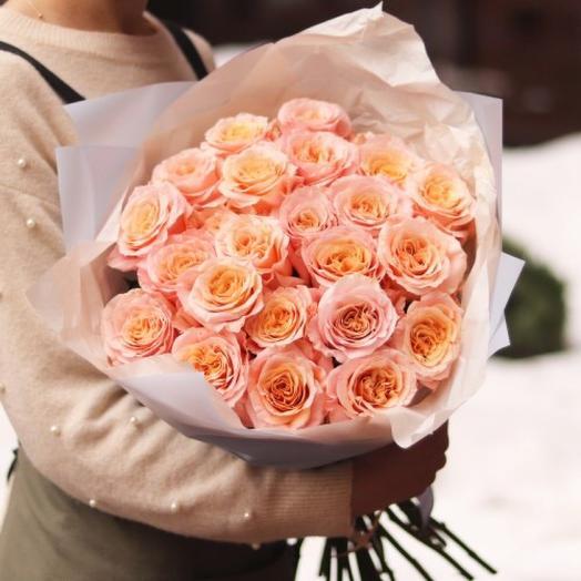 Монобукет из персиковой розы