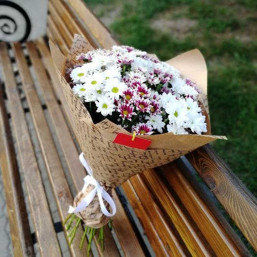 ✅ Букет кустовых хризантем в крафте