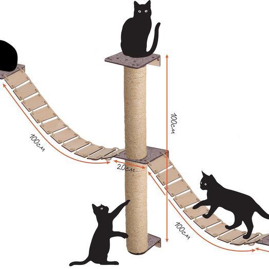 Настенный игровой комплекс для кошек Хвостович 103, сизаль, цвет бежевый