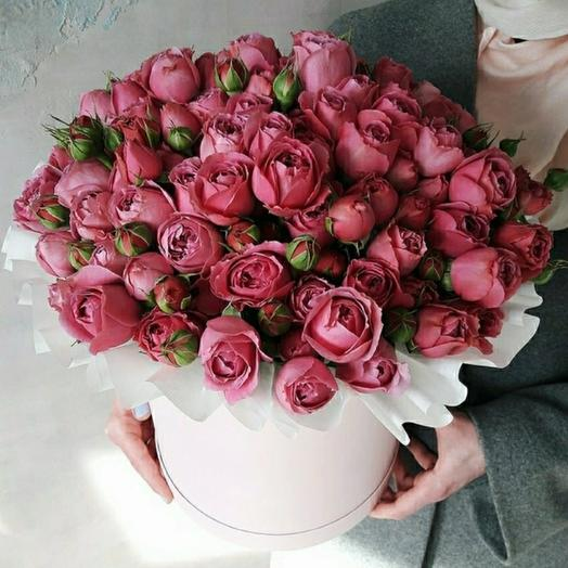 "Коробка ""25 кустовых пионовидных роз Мисти Баблс """