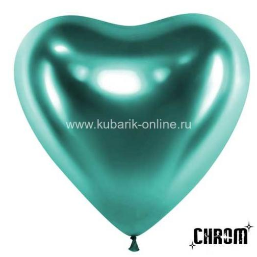 Шар сердце хром зеленый. Размер 12