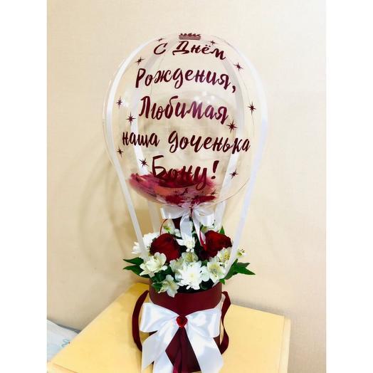Шар баблс с перьями и цветами в коробке