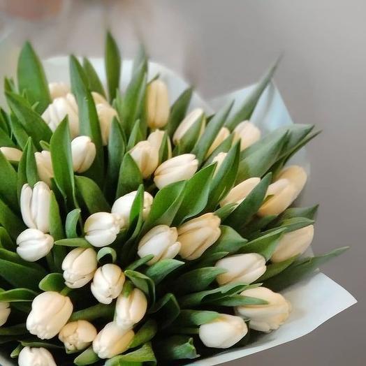 """Букет """"Белый"""" из 45 тюльпанов Белые тюльпаны Букет из тюльпанов Тюльпан"""