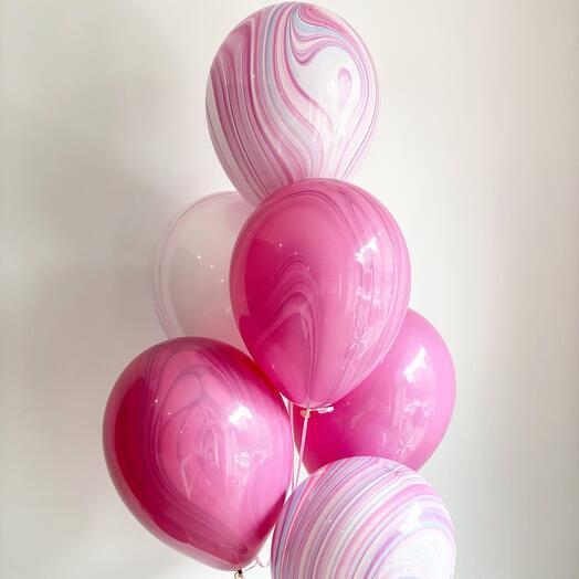 Связка 6шт шаров Агат розовый